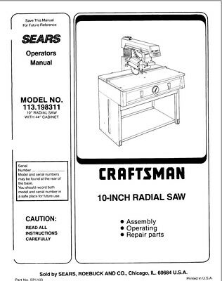 Craftsman 113.198311 Radial Saw Owners Instruction Manual