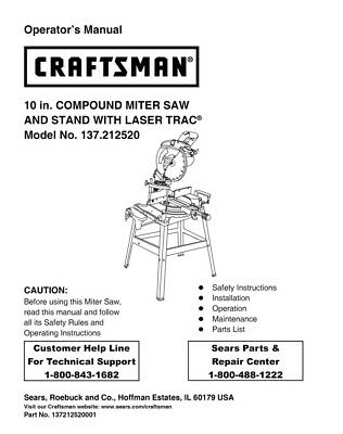 Craftsman 137.212520 Miter Saw Owners Instruction Manual