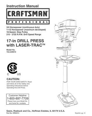 Craftsman 152.229010 Drill Press Owners Instruction Manual