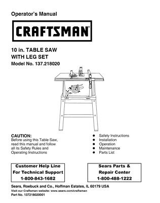 Craftsman 137.218020 Table Saw Owners Instruction Manual