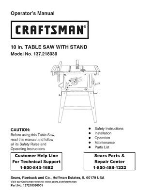 Craftsman 137.218030 Table Saw Owners Instruction Manual