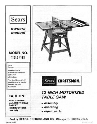 Craftsman 113.24181 Table Saw Owners Instruction Manual