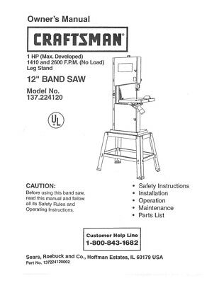 Craftsman 137.224120 Band Saw Owners Instruction Manual