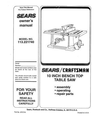 Craftsman 113.221740 Table Saw Owners Instruction Manual
