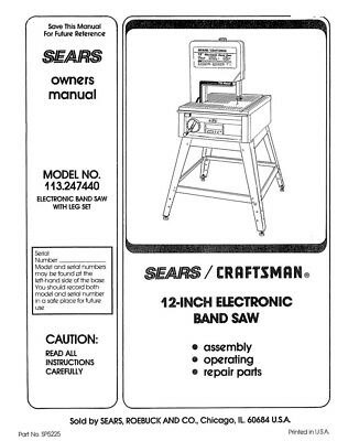Craftsman 113.247440 Band Saw Owners Instruction Manual