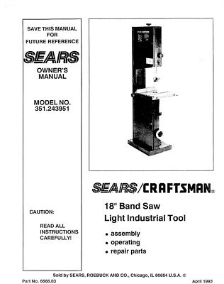 Craftsman 351.243951 Band Saw Owners Instruction Manual