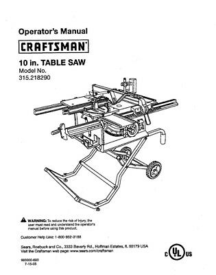Craftsman 315.218290 Table Saw Owners Instruction Manual
