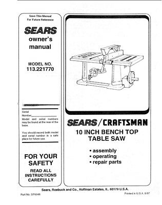 Craftsman 113.221770 Table Saw Owners Instruction Manual