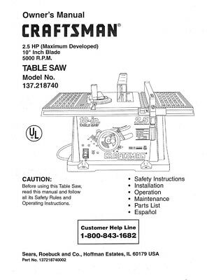 Craftsman 137.218740 Table Saw Owners Instruction Manual