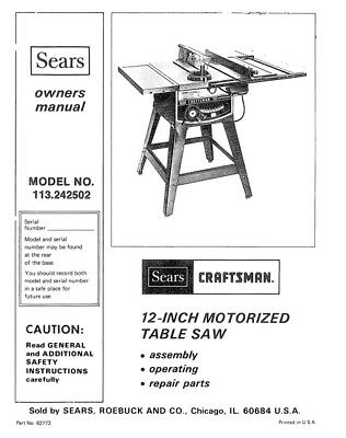 Craftsman 113.242502 Table Saw Owners Instruction Manual