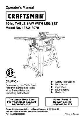 Craftsman 137.218070 Table Saw Owners Instruction Manual