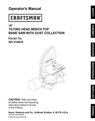 Craftsman 351.214610 Band Saw Owners Instruction Manual
