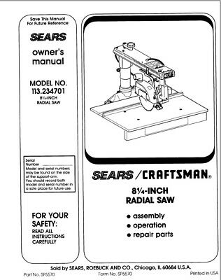Craftsman 113.234701 Radial Saw Owners Instruction Manual