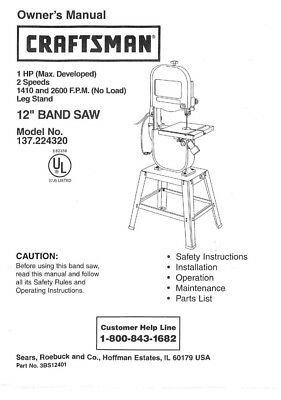 Craftsman 137.224320 Band Saw Owners Instruction Manual
