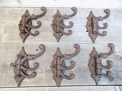 6 Cast Iron Antique Style SWIVEL Coat Hooks Hat Hook Rack Hall Tree Booth Decor