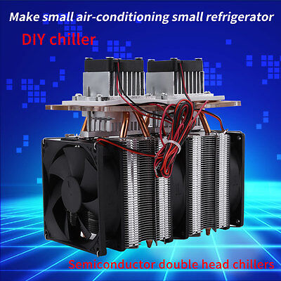 144W Semiconductor 2 Cooler Thermoelectric Peltier Refrigeration Chiller Kit IS