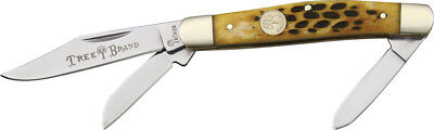 "Boker Medium Stockman Brown Bone Knife 110727 3 3/8"" closed. Stainless clip, spe"