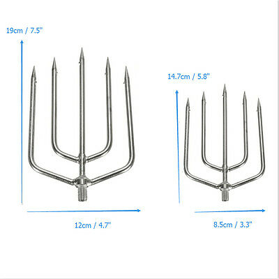 Stainless Steel 5 Prong Harpoon Fish Spear Fork Fishing Fish Salmon Supplies S/L