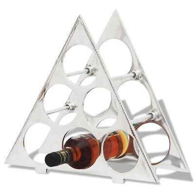 #Wine Rack Holder Storage for 6 Bottles Aluminium Display Table Top Triangular