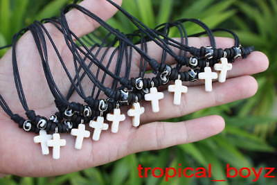 10 Handmade Small Kid Girl WHITE CROSS with Wood Bone Beads Necklaces Wholesale