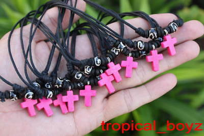 10 Handmade Small Kid Girl PINK CROSS with Wood Bone Beads Necklaces Wholesale