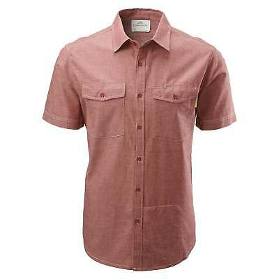 Kathmandu Expedite Mens Organic Cotton Blend Short Sleeve Travel Shirt v2 Red