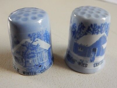 China Thimble 2X Currier & Ives Homestead In Winter Home In The Wilderness