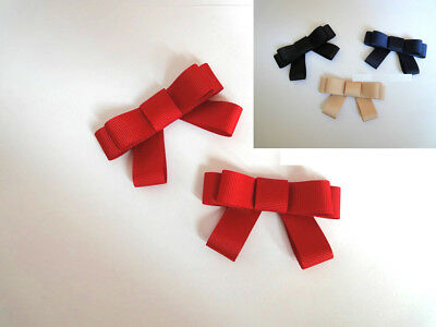 Simple Fashion Color Grey Black Khaki Brown Red Blue Bow Shoe Clips Pair