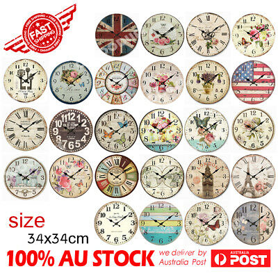 34cm Rustic Vintage Wall Clock Coloured Stylish Design Art Sculpture  MDF Boards