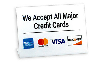 We Accept All Major Credit Cards, L Style Signs, 5 Pack, Free Shipping