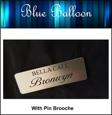 Name Badge -With Pin -(Silver) 64mm x 20mm - Nurse, Staff, Clubs, Bowls, etc..