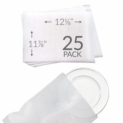 "UBOXES 11 7/8""x 12 1/8"" Foam Pouches for Plates 25 Pack Protect Dishes"