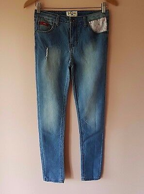 Girls Lee Cooper Distressed Skinny Jeans With Adjustable Waist. Size 12.