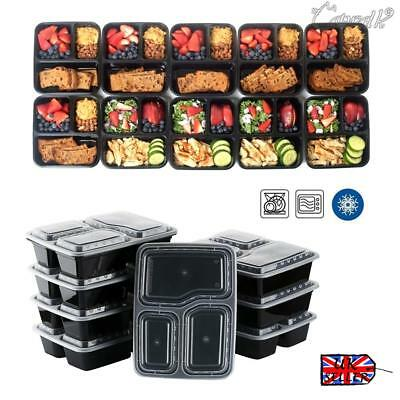 10pcs Compartments Plastic Food Containers Meal Prep Stackable Lunch Trays Lids