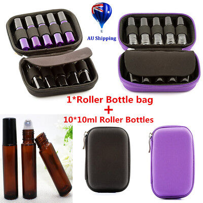 10x10ml Amber Glass Bottles + Oil Case Carry Holder Storage Aromatherapy Bag 0p