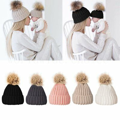 Womens Ladies Warm Wool Knitted Faux Fur Pom Beanie Bobble Ski Hat Slouch Cap