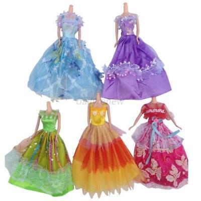 5PCS/Sets For Barbie Doll Handmade Princess Party Dress Wedding Clothes/Gown US