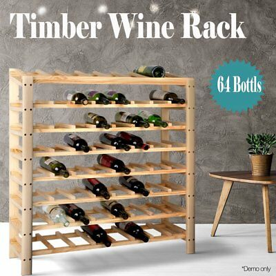 64 Bottle Timber Wine Rack Wooden Storage Cellar Vintry Organiser Stand 6 Tiers