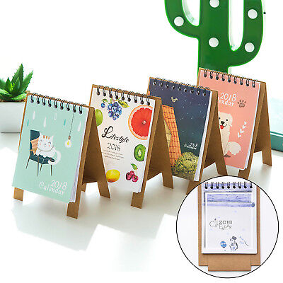 Cute Character Desktop Paper Calendar Daily Scheduler Table Planner Random Color
