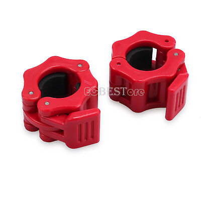 25mm Pair Weight Lifting Bar Collars Gym Standard Barbell Lock Clamp Collars RED
