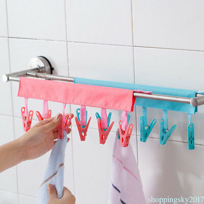 Portable Hanging Towels Clothes Socks Clip Cloth Hanger For Travel 6 Clips