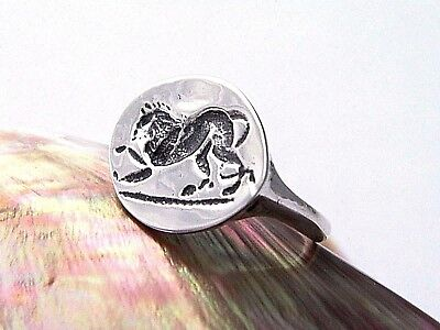 Hand Made .925 Sterling Silver Cameo Lion Antique Stamp Ring-Custom Size