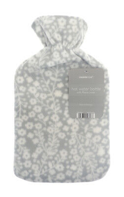 Country Club Fleece Hot Water Bottle Grey Floral Warm Christmas Stocking Filler