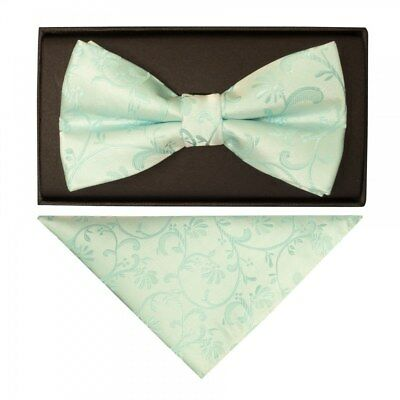 Mint Green Floral Mens Bow Tie and Handkerchief Set Dickie Bow Pocket Square