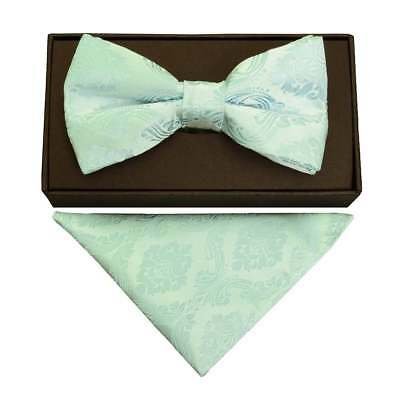 Mint Green Paisley Mens Bow Tie and Handkerchief Set Dickie Bow Pocket Square