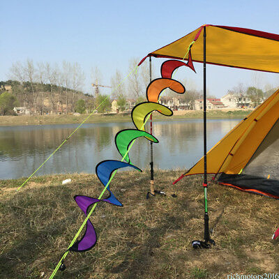 1pc Spiral Rainbow Wind Spinner Colorful Windmill Outdoor Garden Lawn Decor wz03