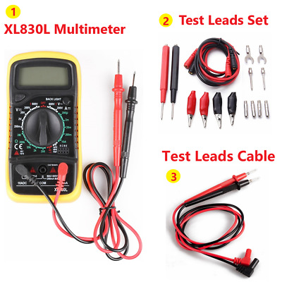 Digital LCD Multimeter Ammeter Voltmeter AC DC OHM Current Circuit Tester Set