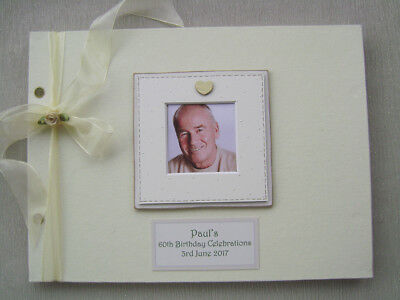 Personalised Linen 60Th Birthday Guest Book A4 Size With Box..photo Insert