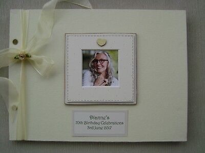 Personalised Linen 70Th Birthday Guest Book A4 Size With Box..photo Insert