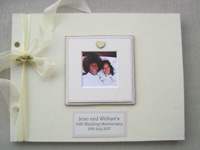 PERSONALISED LINEN 30th wedding anniv GUEST BOOK A4 SIZE WITH BOX..PHOTO INSERT